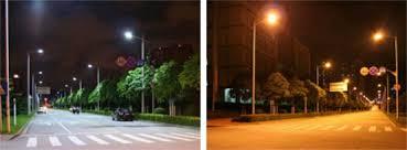 led street lighting and high pressure sodium lights