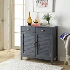 2 Olivia 2Drawers Grey Accent Cabinet 2Shutter Doors