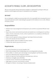 Accounts Payable Job Description Templates Ukranagdiffusion Interesting Accounts Payable Job Description Resume