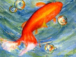 fish painting fish and bubbles from watercolor by lenora de lude