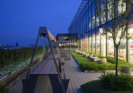 google london office. above the google park a huge garden area on suntrap balcony london office o