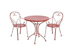 gorgeous red bistro table and chairs with woodard parisienne collection 3 pc wrought iron bistro set