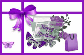 Happy Birthday With Purple Gift Bag Free Birthday Gifts Ecards