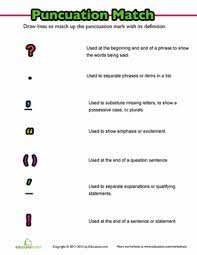 Punctuation Practice More Matching Education Punctuation