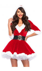 Clearance Sexy Red 2 Piece Womens Santa Costume