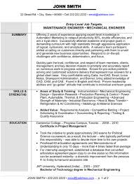Mechanical Maintenance Engineer Sample Resume 1