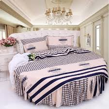 round bed brief blue stripe bedding kit super california king size cotton duvet cover pillowcase bedskrit set round bedding sets matelasse bedding white and