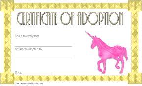 Pet Adoption Certificate Template Unicorn Adoption Certificate Templates 7 Wonderful Designs