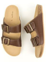 two strap footbed sandals will s vegan shoes mens chestnut vegan footbed sandals at wills vegan shoes com