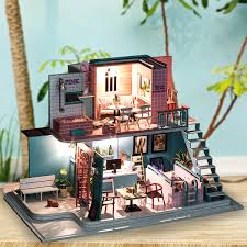 handmade 3d wooden miniatures doll house pink cafe dollhouse furniture diy miniature toys for girls birthday