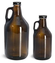 amber glass bottles handle jugs w black metal plastisol lined caps