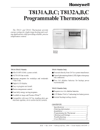 Honeywell Thermostat Cross Reference Chart Honeywell Thermostat T8131a Users Manual Manualzz Com