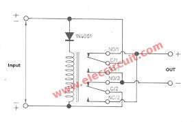 automatic reverse polarity switch by relay electronic projects automatic reverse polarity switch by relay figure 1 the circuit diagram