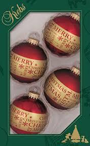 Original Lauschaer Christbaumschmuck 4er Set Kugeln In Rot Dekoriert Mit Merry Christmas 7 Cm Mit Goldenem Krönchen 50 Schnellaufhänger In Gold