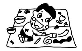 お絵かきをする子どものイラスト 白黒ヤギさん フリー素材イラスト