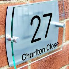 modern house number plaque door sign street road name glass acrylic slate house number plaques
