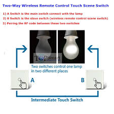 eu uk one gang touch scene switch working as remote two way remote control switch