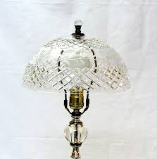 this elegant blown glass boudoir table lamp with its absolutely gorgeous engraved cut crystal shade was manufactured in czechoslovakia approximately
