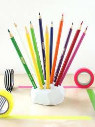 Diy office supplies Glitter Diy Geometric Colored Pencil Holder Fun365 Oriental Trading 12 Diy Desk Accessories For An Organized Office