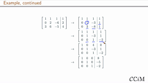 example of solving a 3 by 3 system of linear equations by row reducing the augmented matrix in the case of one solution