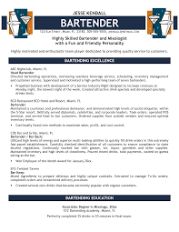 Examples Of Bartending Resumes 71 Images Bartender Resume