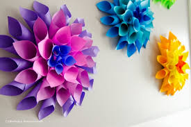 Flower Out Of Paper Bright Diy Rainbow Paper Dahlia Flowers To Make Kidsomania