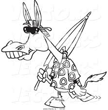 Small Picture Vector of a Cartoon Summer Donkey Carrying a Beach Umbrella