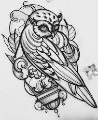 эскиз татуировки с совой анималь птицы животные эскиз