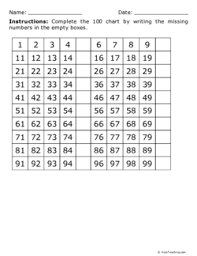 100 Chart Missing 5s And 10s Grade 1 Free Printable