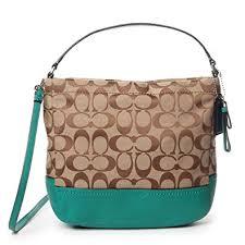 Coach Park Signature Mini Duffle Crossbody Bag Khaki Bright Jade F49158