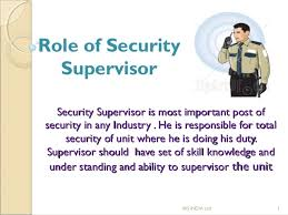 security officer duties and responsibilities sop of security supervisor