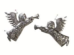 tin angel wall plaques are handmade in