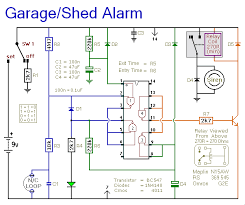 automatic garage shed alarm circuit diagram notes