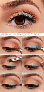 gold peach and blue eye makeup