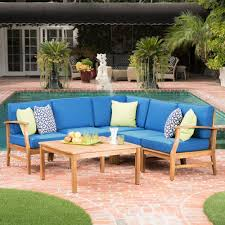 Wood outdoor sectional Build Your Own Noble House Perla Teak Finish 6piece Wood Outdoor Sectional Set With Blue Cushions The Home Depot Noble House Perla Teak Finish 6piece Wood Outdoor Sectional Set