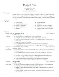 Nanny Resume Example Simple Nanny Resume Objective Example Examples Basic Caregiver