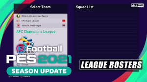 PES 2021 AFC Champions League League Rosters - YouTube