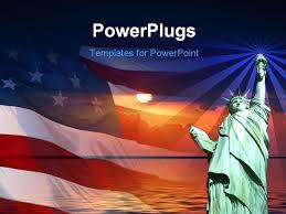Free Powerpoint Template Symbol Of America Flag Sunrise