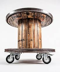 cable spool repurposed as tables and