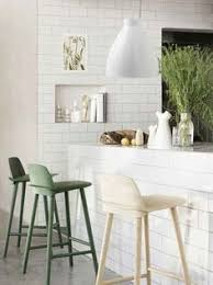 subway tile modern counter stools and a clean white pendant light our dream kitchen