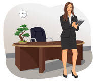 a business woman stands with a clipboard stock photos bonsai tree office table