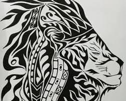 ライオンペン画 手書き原画