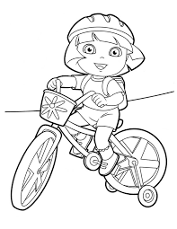 Dora Coloring Pages Riding Bicycle Coloringstar