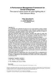 a performance management framework for social enterprises the case a performance management framework for social enterprises the case of value chains for solar lighting kits in sub saharan africa