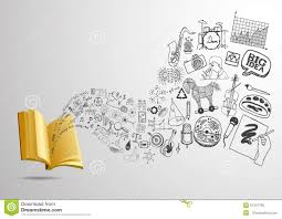 3d open book with flowing educational doodle for background ready to use
