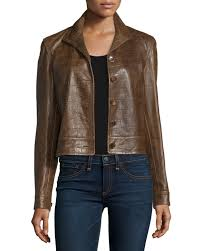 ralph lauren collectioncrocodile embossed leather jacket chestnut brown