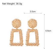 AENSOA <b>Big</b> Vintage Earrings For <b>Women</b> Fashion <b>Geometric</b> Metal ...