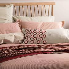 pencil stripe red linen bedding