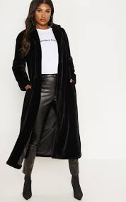 black longline faux fur coat image 1