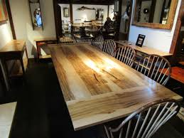trestle table made from ambrosia maple with black walnut base 7 foot table includes two 12 company boards for a total length of 9 feet